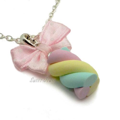 Collana Marshmallow rosa Fimo