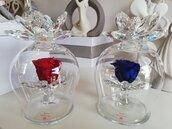 Bomboniera campana vetro con doppio anemone cristallo e rosa eterna