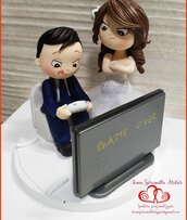 Cake topper sposi divertente con play station
