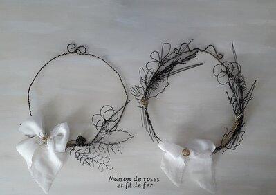 Ghirlanda fildiferro vintage, fiocco lino bianco
