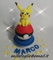 Cake Topper/Decorazione torta o dolci,in zucchero P i k a c h u - P o k e m o n