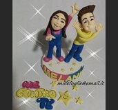 Cake Topper/Decorazione torta e dolci,in zucchero M e C o n t r o T e