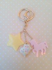 Portachiavi unicorno, stella e biscotto realizzato a mano