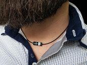 Collana uomo in cuoio e agata striata nero, fatto a mano, collana regolabile, regali per lui.