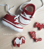Scarpine/sneakers neonato/bambino - lana e alpaca - bianco/rosso - fatte a uncinetto