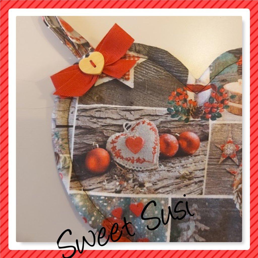 Coppia di Presine cuore Rosso Natale