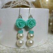 Orecchini con roselline e perle di swarovski, argento 925, orecchini con perle, regalo amica, regalo Natale