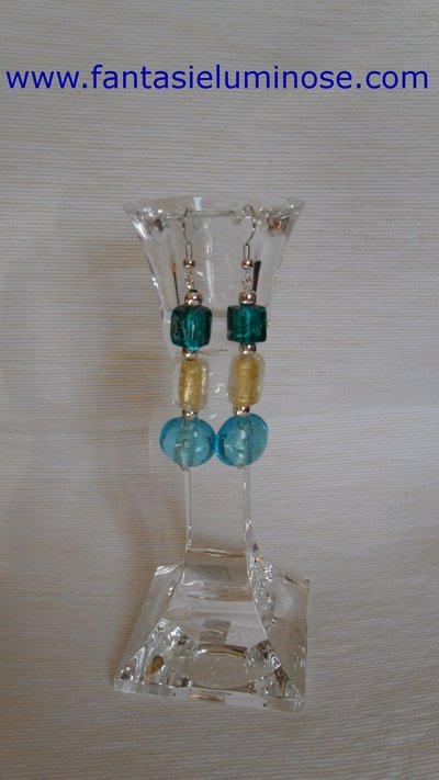orecchini perle di vetro azzurro