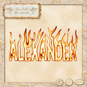 Alexander , nome in fiamme, clipart digitale