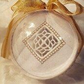 Palla di Natale con ricamo a mano, decorazione natalizia, ricamo a Reticello