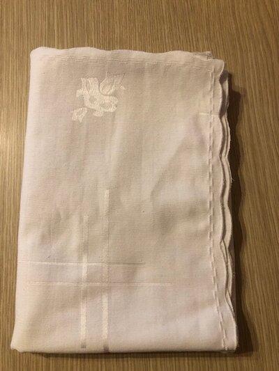 Tovaglia bianca in cottone damascato