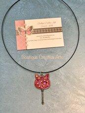 Collana gatto rosa - bacchetta magica