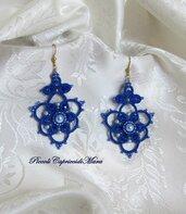 Orecchini blu al chiacchierino, cristalli blu, perle azzurre