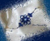 Bracciale blu al chiacchierino, cristalli blu, perle azzurre