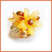 """Anello """"Fufu Flower arancione """" fiore estate lucite idea regalo regolabile festa mamma primavera cerimonia damigella"""