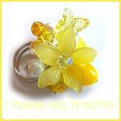 """Anello """"Fufu Flower giallo """"  fiore estate lucite idea regalo regolabile festa mamma primavera cerimonia damigella"""