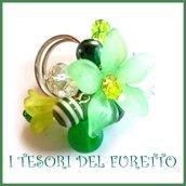 "Anello ""Fufu Flower verde ""  fiore estate lucite idea regalo regolabile festa mamma primavera cerimonia damigella"