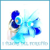 "Anello ""Fufu Flower blu"" fiore estate lucite idea regalo regolabile festa mamma primavera cerimonia damigella"