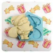 Stampo in silicone per resina e gesso, forma Babbo Natale, stampo natalizio flessibile, soggetto originale, handmade