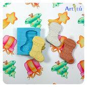 Stampino in silicone flessibile Calza di Natale, stampo in silicone per colata di resina o gesso e per impasti morbidi