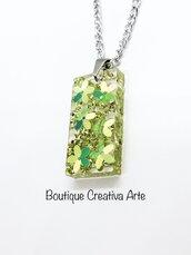 Collana resina fiori verdi glitter