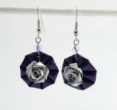 Orecchini viola in alluminio con rosa- Rosa Viola