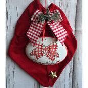 Decorazioni natalizie/Fiocco in velluto rosso con targa ovale in ceramica
