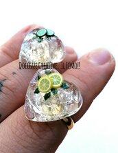 MODELLO A - Anello Mojito - Cocktail - rum, zucchero di canna, lime e menta ghiaccio . cuore - handmade kawaii idea regalo