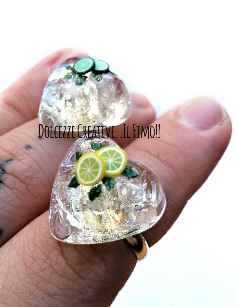 MODELLO B - Anello Mojito - Cocktail - rum, zucchero di canna, lime e menta ghiaccio . cuore - handmade kawaii idea regalo