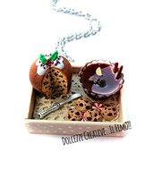 NATALE IN DOLCEZZE - Collana Vassoio con panettone - pandoro al cioccolato con agrifoglio, cookie, caramelle e Vin brulé