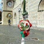 Collana Siciliana tamburello in ceramica colori bianco rosso verde e foglia oro
