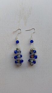 Orecchini cristalli blu e grigi