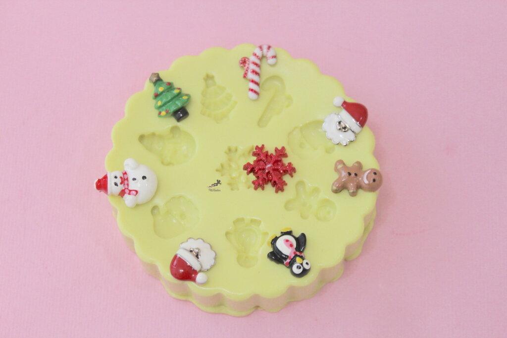 Stampo silicone Natale-Stella Di Natale-Gingerbread-Babbo Natale-Pupazzo di Neve-Albero di Natale-Stampini per il Fimo-Stampo Gioielli-Fimo-Resina-ST247