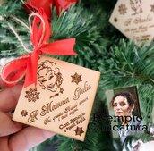 Decorazione Legno Albero di Natale Regalo da Appendere Personalizzato segnaposto cenone di Natale