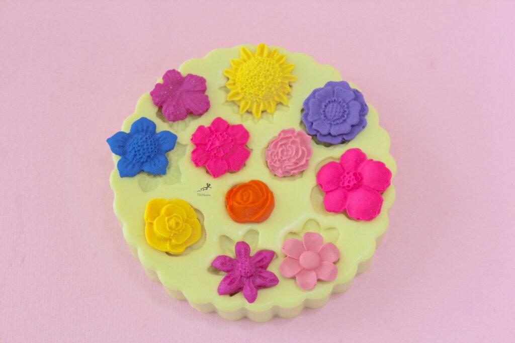 Set Fiori,Stampo in silicone,stampini,stampini fimo, stampini in silicone, stampo sapone,stampo resina, stampo fiori, stampo silicone-SET002