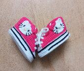 Scarpine uncinetto Hello Kitty, crochet baby shoes, newborn gift, baby shower