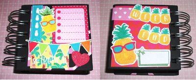 Idea Regalo! Mini Album Block Notes PortaAppunti - Ananas e Fenicotteri^^