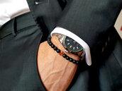 Bracciale elastico di pietre di onice nero opaco e ambra baltica naturale. Bracciale uomo o donna. Bracciale per coppie. Fatto a mano