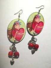 Orecchini rossi verdi decoupage Cuore amore San Valentino Natale Idea regalo donna cuori