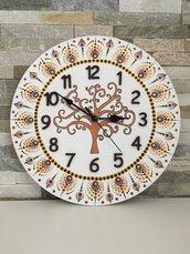 Orologio da parete di legno dipinto a mano con albero della vita e mandala