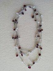 Collana lunga rosario bianco/bordeaux