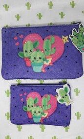 pochette in feltro con cactus
