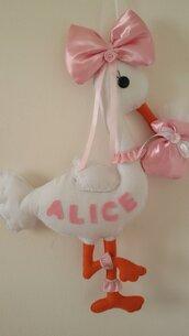 """Inserzione riservata fiocco nascita cicogna """"Alice"""""""