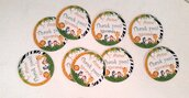 Bigliettini compleanno etichette adesive stikers festa a tema giungla safari animali party matrimonio compleanni