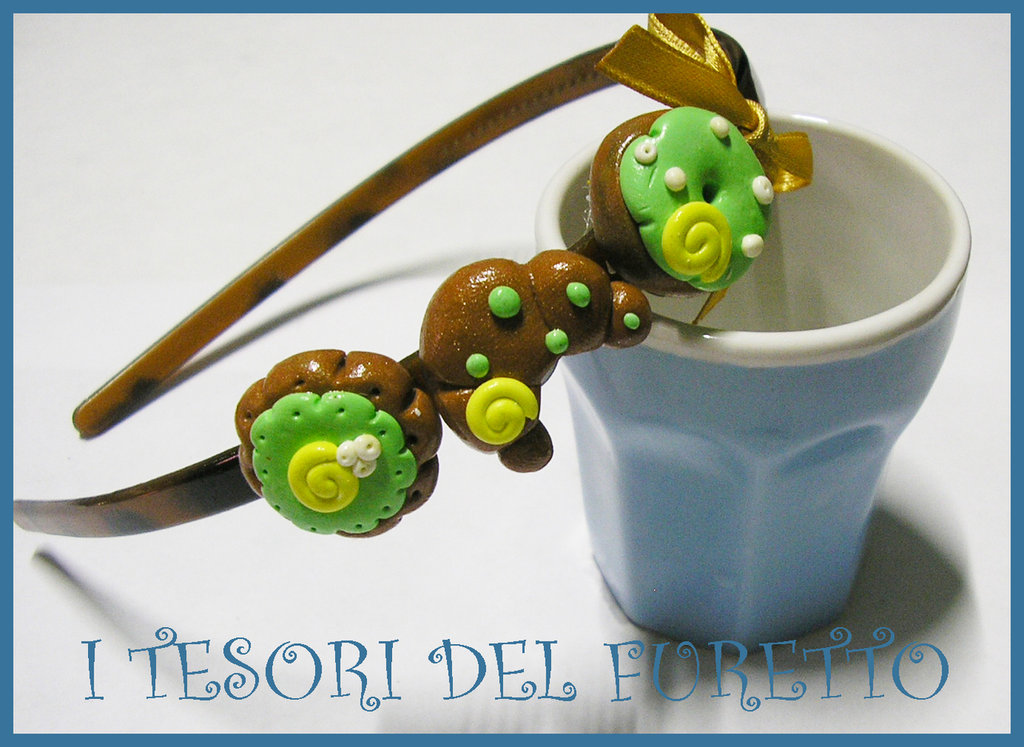 Cerchietto Dolcetti Biscotti idea regalo Fimo Cernit OOAK