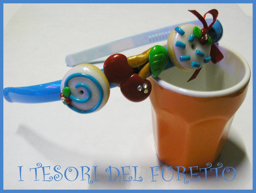 Cerchietto Ciliegia Dolcetti Biscotti idea regalo Fimo Cernit OOAK