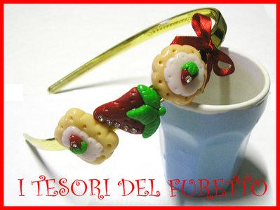 Cerchietto Fragola Dolcetti Biscotti idea regalo Fimo Cernit OOAK