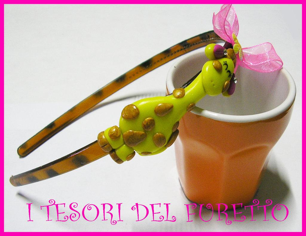 Cerchietto GIRAFFA idea regalo Fimo Cernit