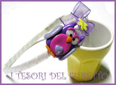 Cerchietto GUFO CIVETTA idea regalo Fimo Cernit OOAK