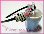 Cerchietto ZEBRA idea regalo Fimo Cernit
